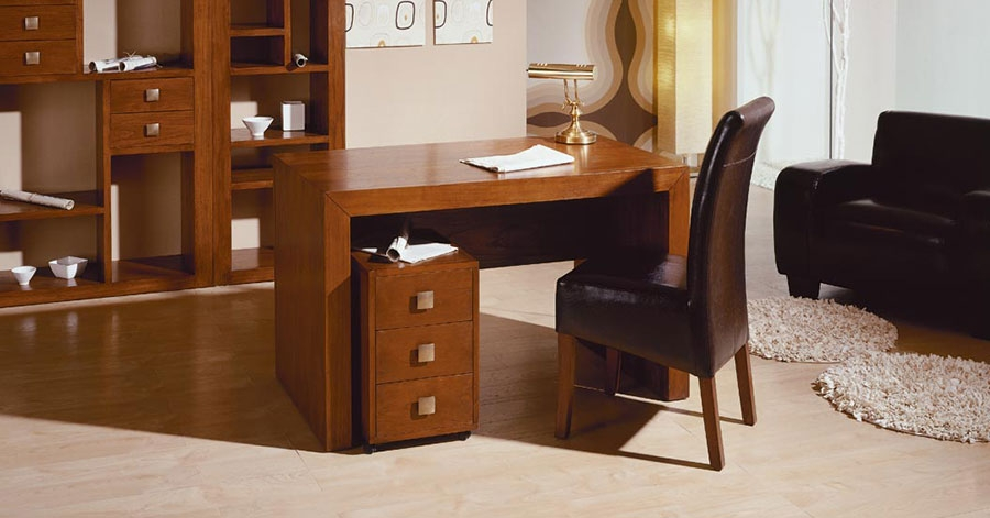 Bureau bois colonial: bureau colonial en bois et simili cuir marron