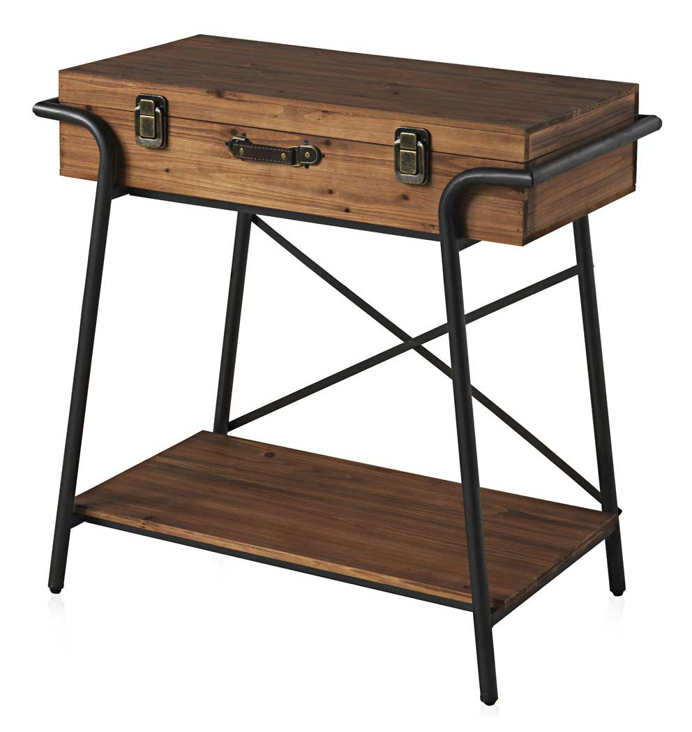console en forme de valise bois et m tal. Black Bedroom Furniture Sets. Home Design Ideas