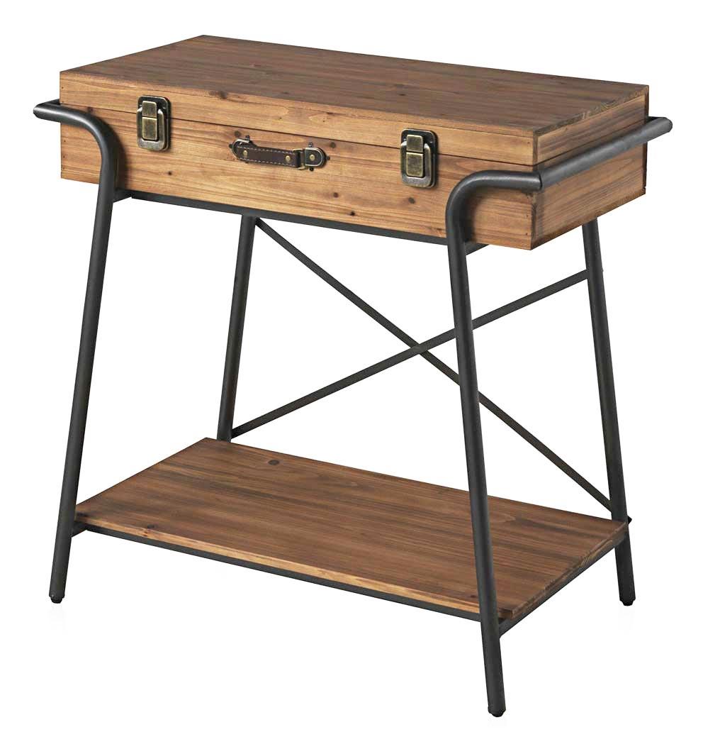 valise en bois Console en forme de valise bois et métal - Image 1 ...