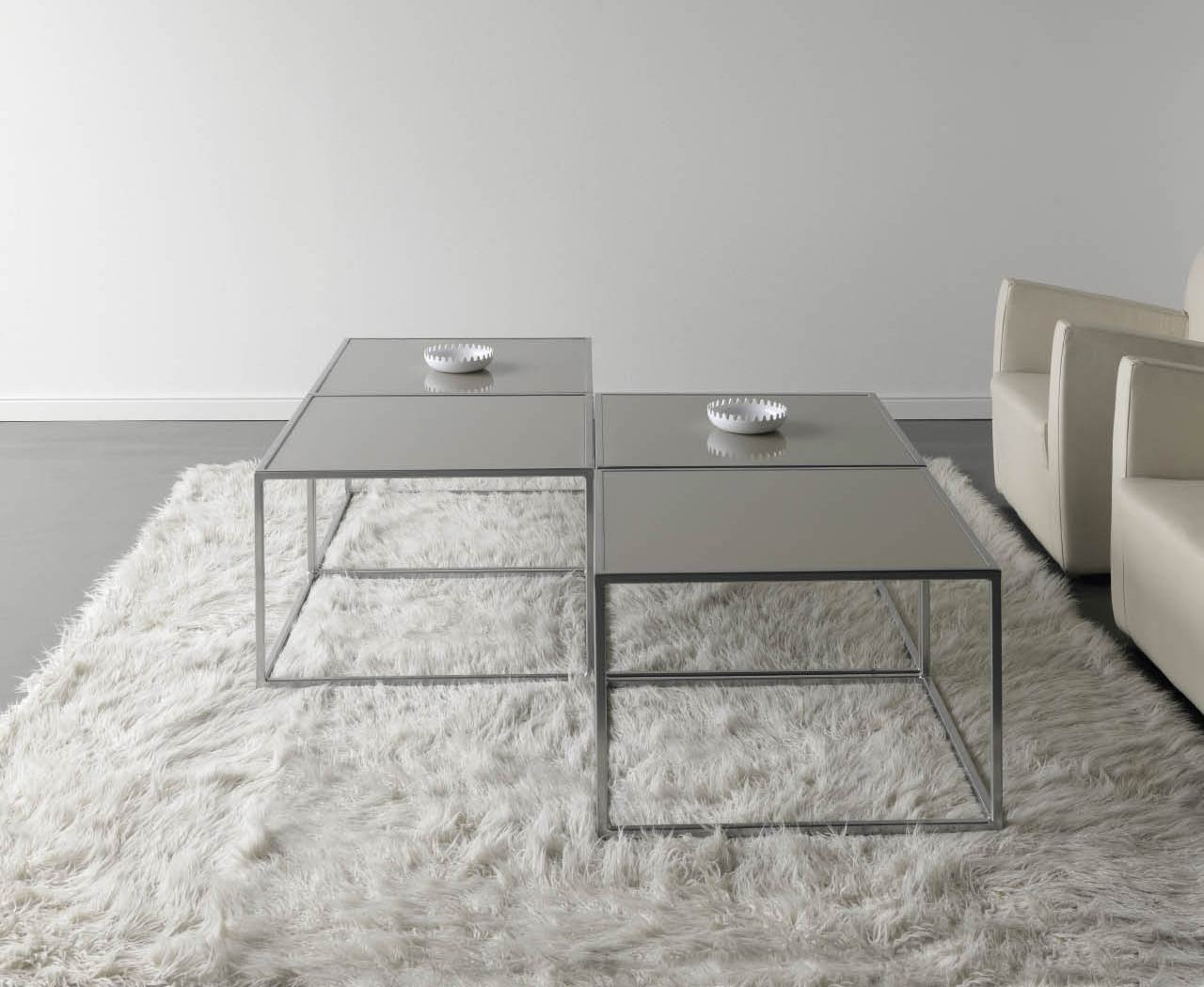 Table basse contemporaine m tal et verre cubic 5859 - Table verre et metal ...