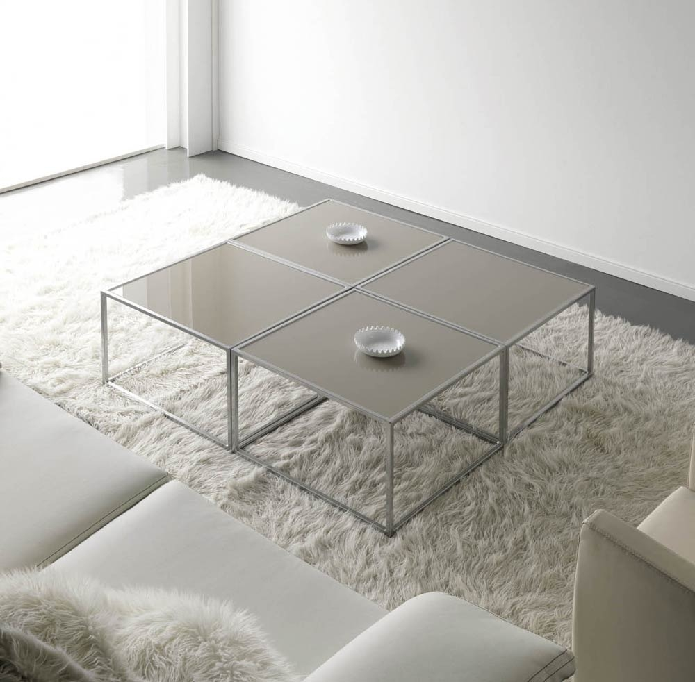 table basse contemporaine m tal et verre cubic. Black Bedroom Furniture Sets. Home Design Ideas