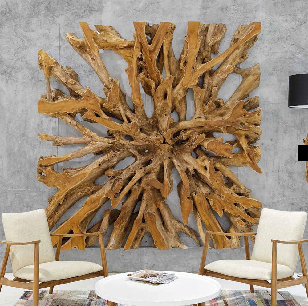 un rev tement mural en racine de teck un d cor inspir de la nature. Black Bedroom Furniture Sets. Home Design Ideas