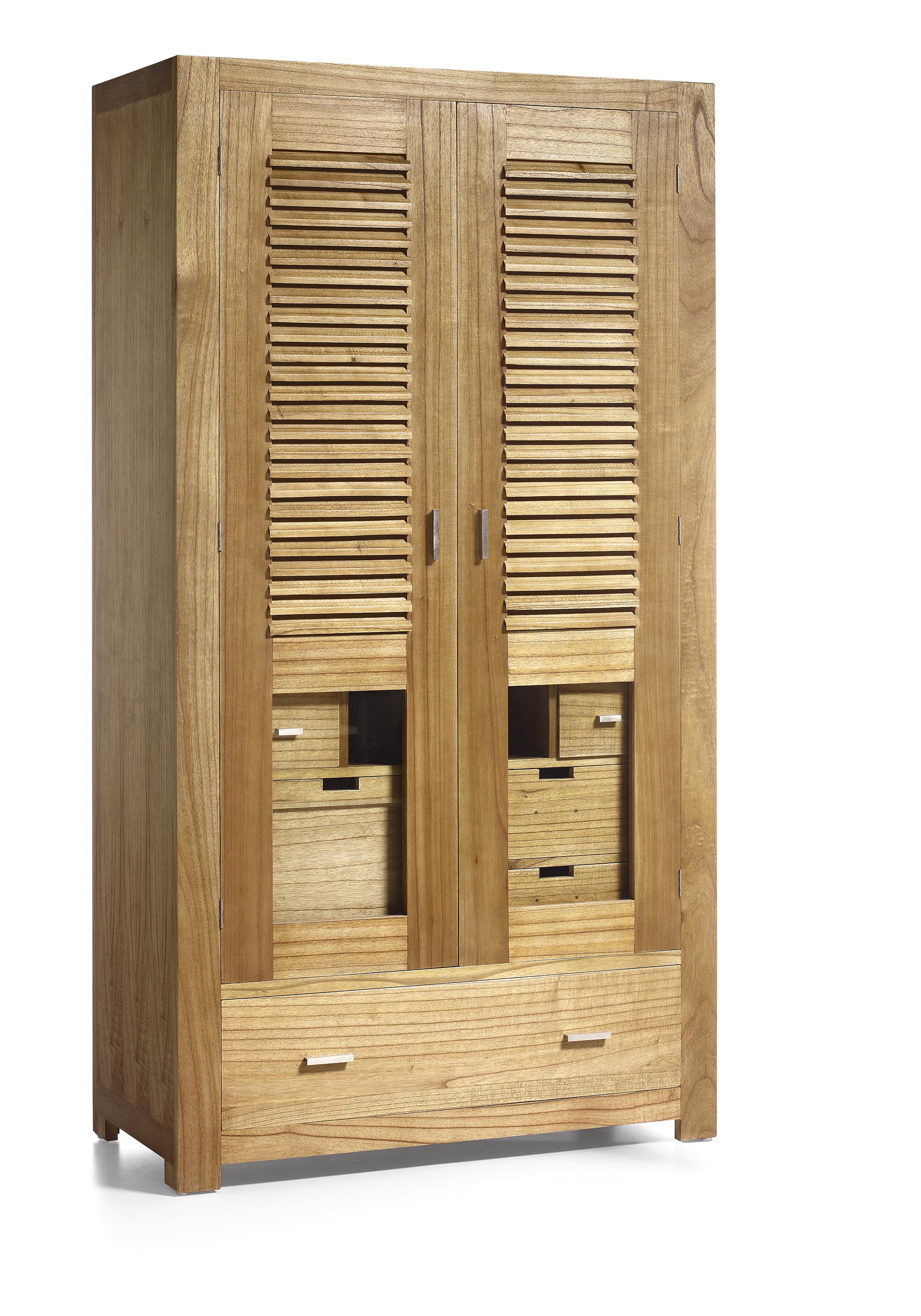 armoire penderie en bois naturel 5 tiroirs 2 portes avec rangement chaussures 108 50 200. Black Bedroom Furniture Sets. Home Design Ideas