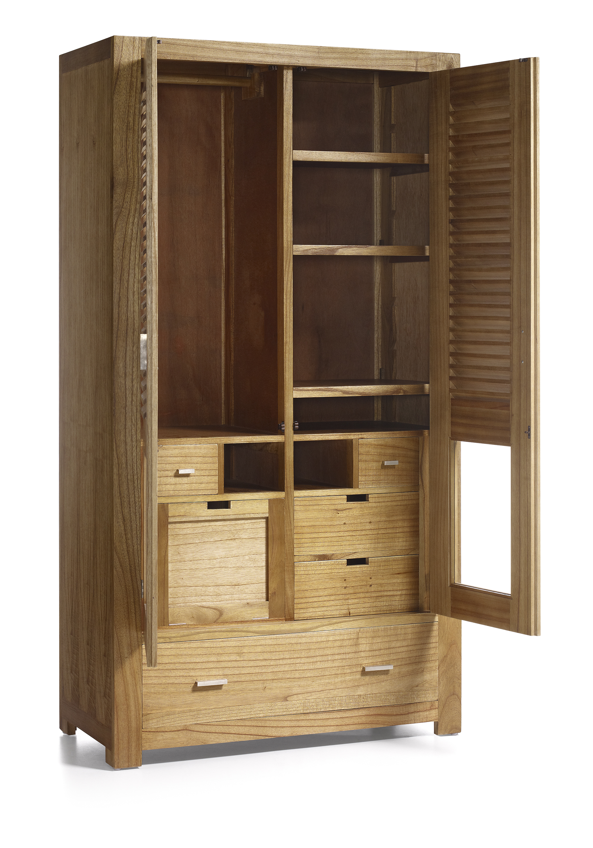 armoire penderie en bois naturel 5 tiroirs 2 portes avec rangement chaussures 108 50 200. Black Bedroom Furniture Sets. Home Design Ideas
