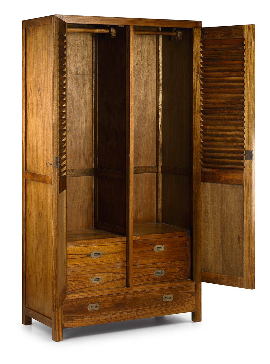 armoire penderie en bois massif double compartiment penderie collection mawan. Black Bedroom Furniture Sets. Home Design Ideas
