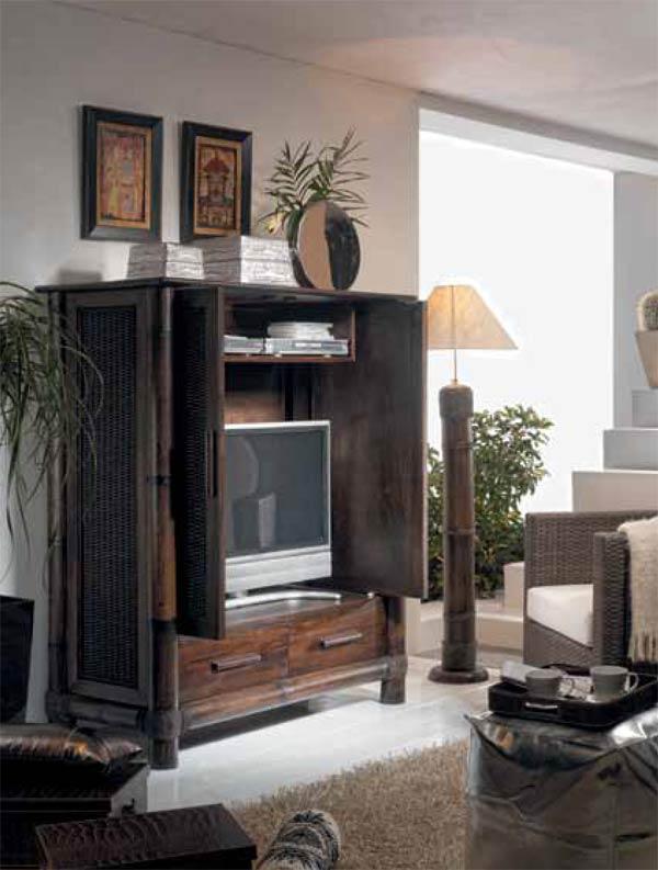 Armoire Tv En Bambou Wenge Tropicana 6330