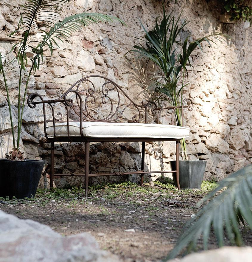 banquette fer forg de jardin personnalisable couleur au. Black Bedroom Furniture Sets. Home Design Ideas