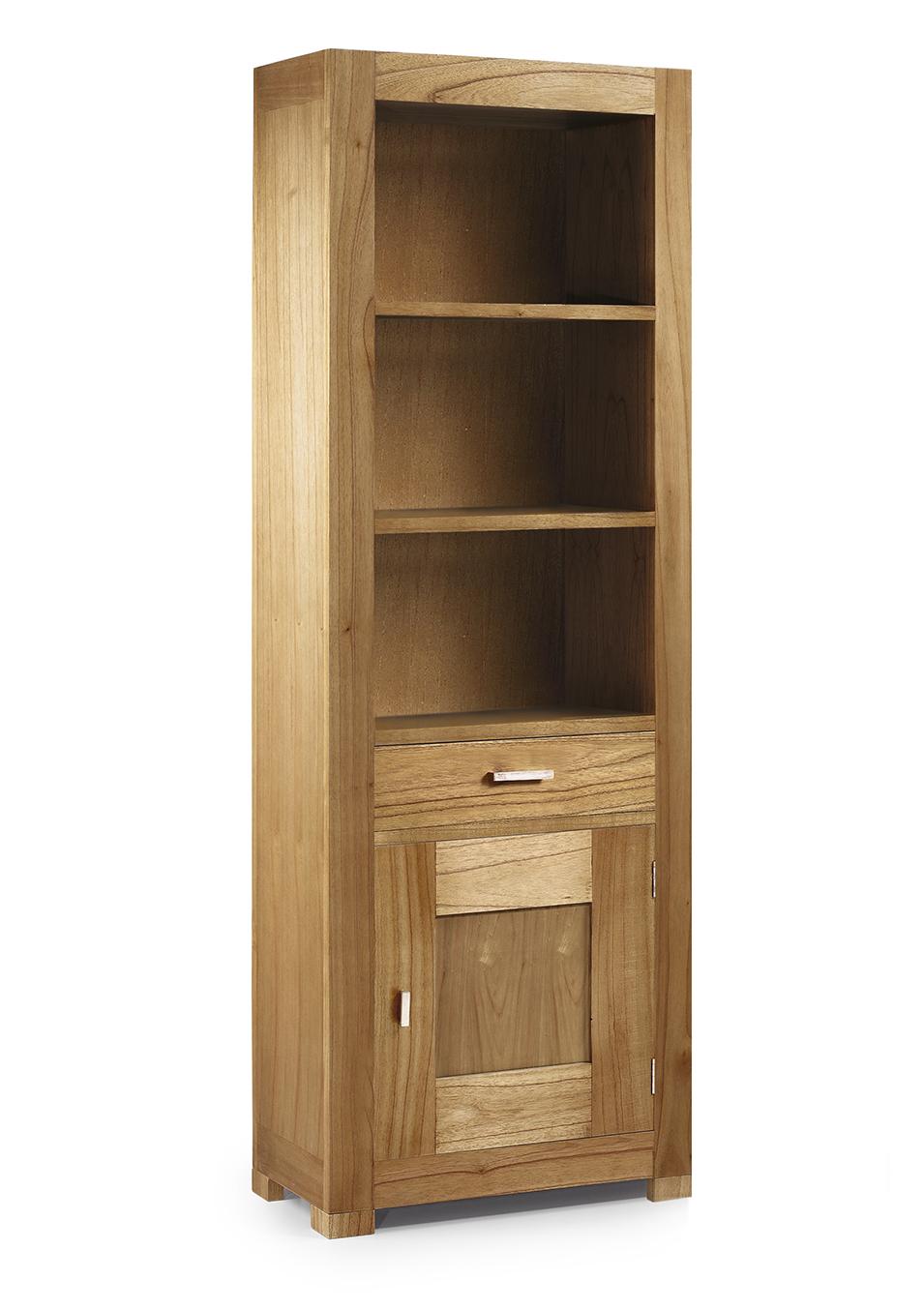 Biblioth Que En Bois Naturel 1 Tiroir 1 Porte 3 Espaces De  # Tiroir Rangement Dvd