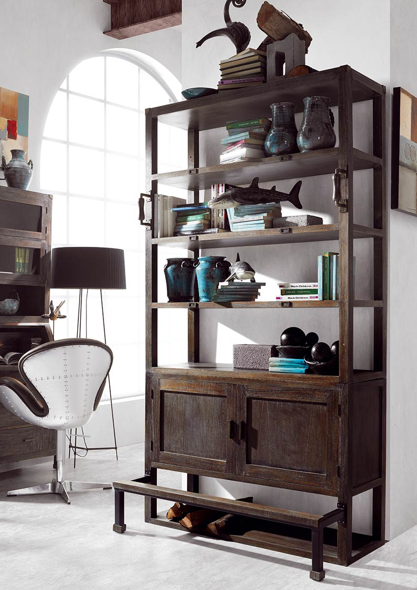 biblioth que en bois et m tal avec marche pieds concept collection jader. Black Bedroom Furniture Sets. Home Design Ideas