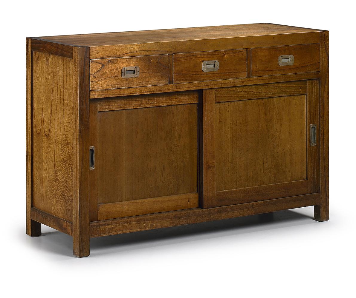 bahut en bois de mindy 3 tiroirs 2 portes coulissantes. Black Bedroom Furniture Sets. Home Design Ideas