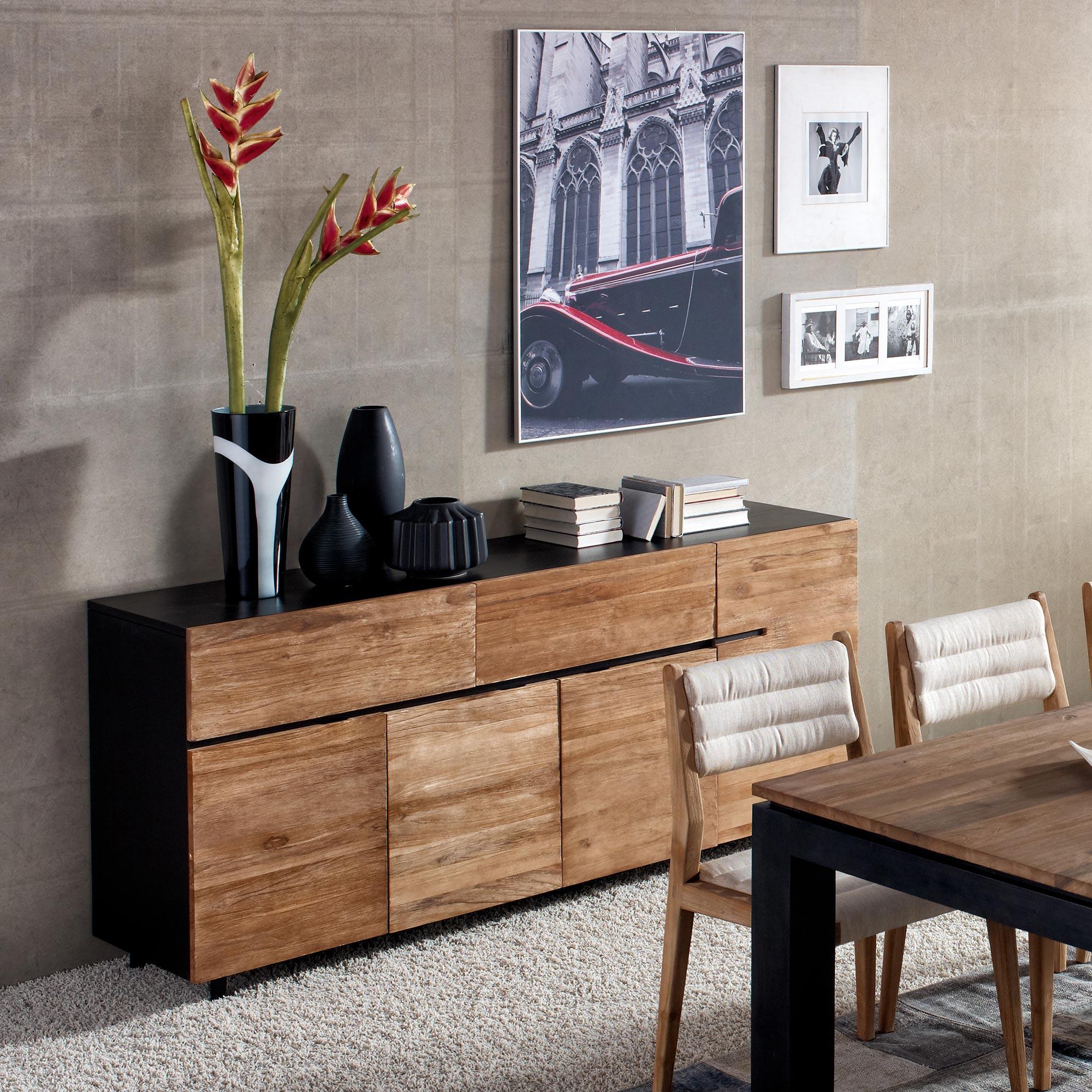 buffet 4 portes 2 tiroir teck acacia 6256. Black Bedroom Furniture Sets. Home Design Ideas
