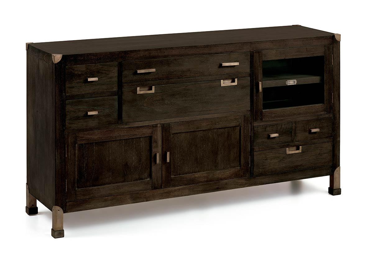 Buffet en bois et m tal 7 tiroirs 3 portes collection jader - Buffet metal et bois ...