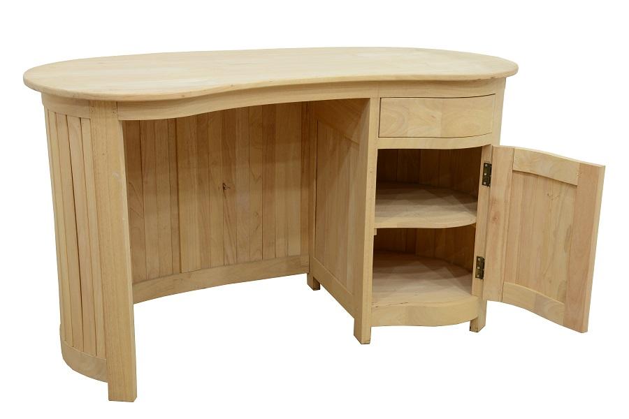 Bureau avec porte et tiroirs haricot