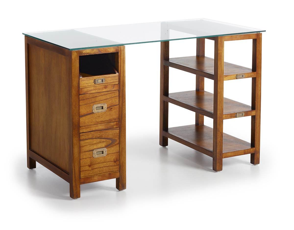 Bureau en bois massif plateau en verre collection mawan for Bureau en bois massif
