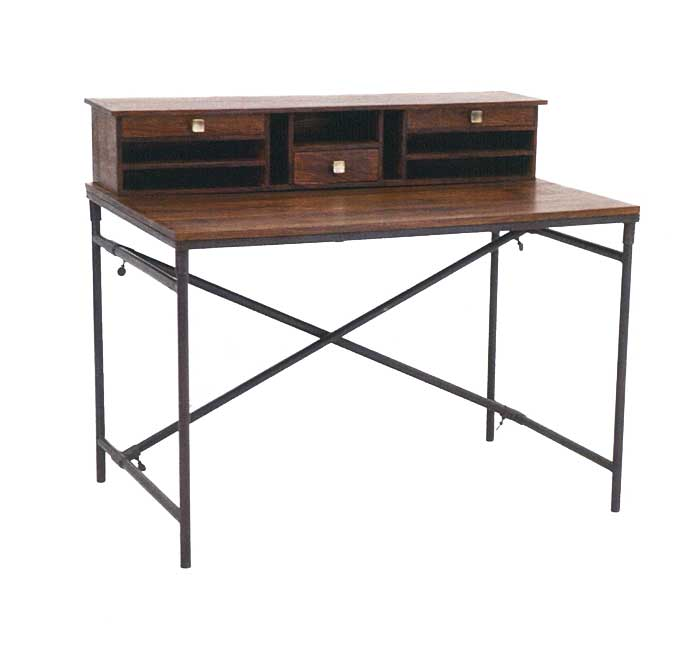 bureau style industriel en palissandre et fer forg crispy 4949. Black Bedroom Furniture Sets. Home Design Ideas