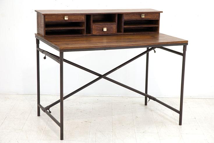 bureau style industriel en palissandre et fer forg crispy. Black Bedroom Furniture Sets. Home Design Ideas
