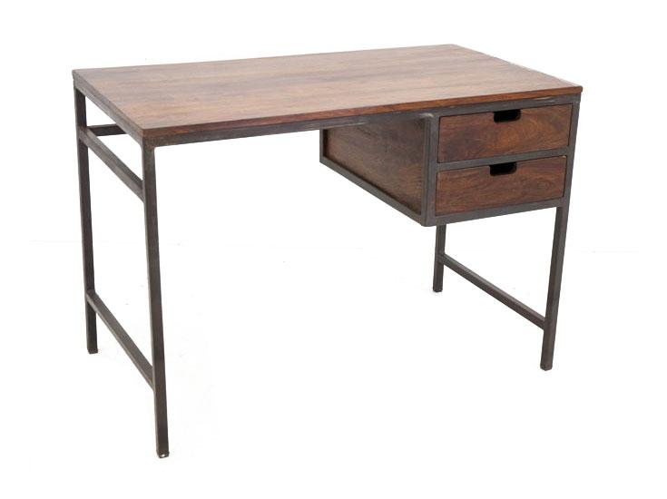 bureau fer et bois style industriel 2 tiroirs crispy 5197. Black Bedroom Furniture Sets. Home Design Ideas