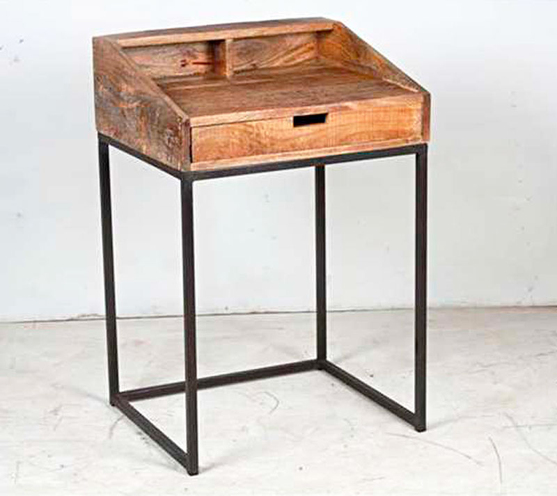 Petit bureau m tal palissandre ou manguier 6266 for Petit bureau metal