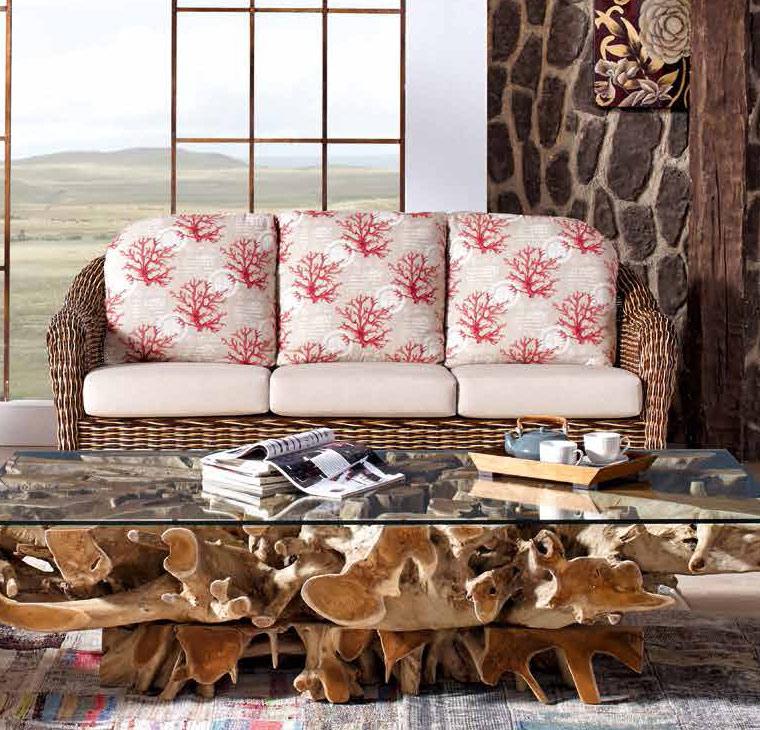 Canap 3 places moelle de rotin couleurs - Canape en coussin de sol ...