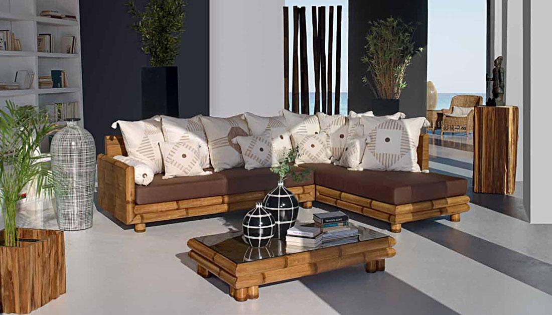 Salon d\'angle bambou Zen #4745