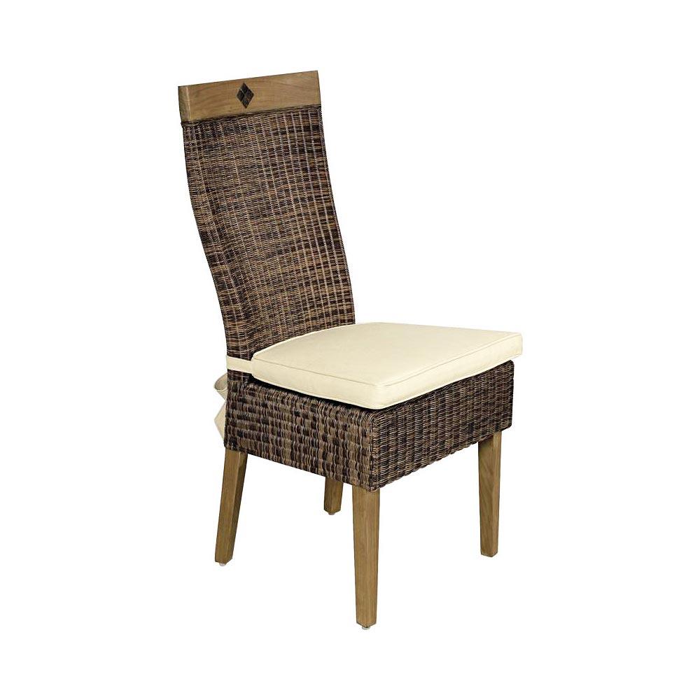 Chaise teck cir et moelle de rotin avec coussin d 39 assise cru 5296 - Galette pour chaise en rotin ...
