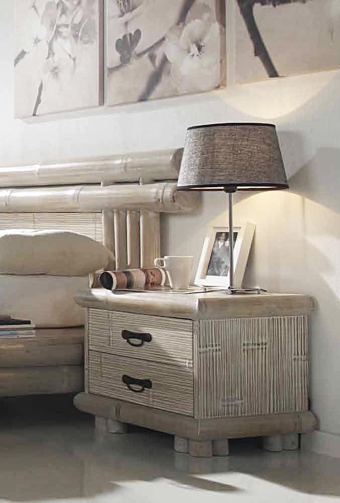 Le chevet bambou 2 tiroirs un serviteur de nuit l gant for Serviteur chambre