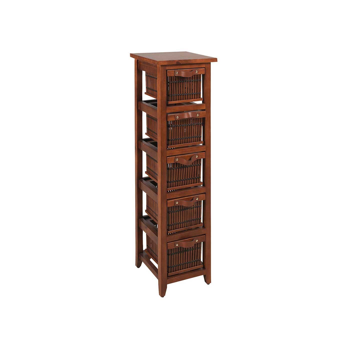 chiffonnier colonne dvd en bambou et bois pin 5 tiroirs 4335. Black Bedroom Furniture Sets. Home Design Ideas
