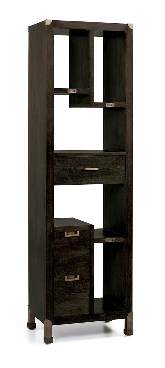 biblioth que colonne d structur e en bois et m tal 3 tiroirs 5 niches collection jader. Black Bedroom Furniture Sets. Home Design Ideas