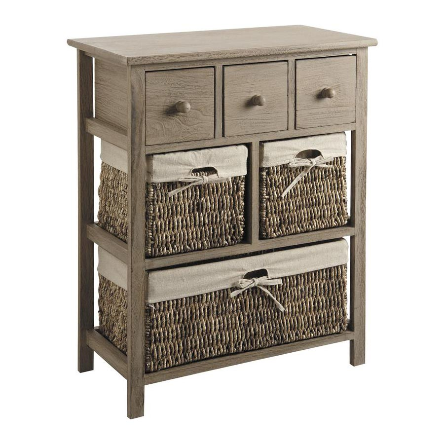 commode bois taupe avec paniers 4 tiroirs mancus 4888. Black Bedroom Furniture Sets. Home Design Ideas