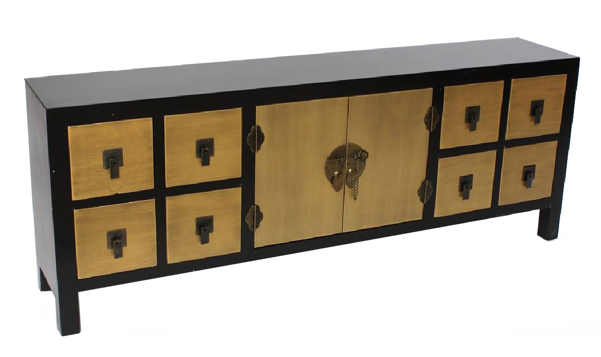commode buffet chinois noir et or 5089. Black Bedroom Furniture Sets. Home Design Ideas