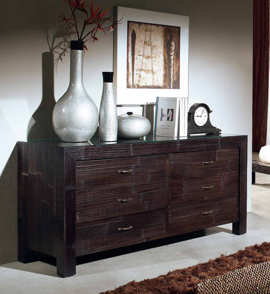 Commode Bambou Lamell 6 Tiroirs 6332 # Commode Bas Exotique Wenge