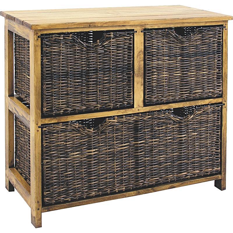 chiffonnier pin et rotin 6018. Black Bedroom Furniture Sets. Home Design Ideas