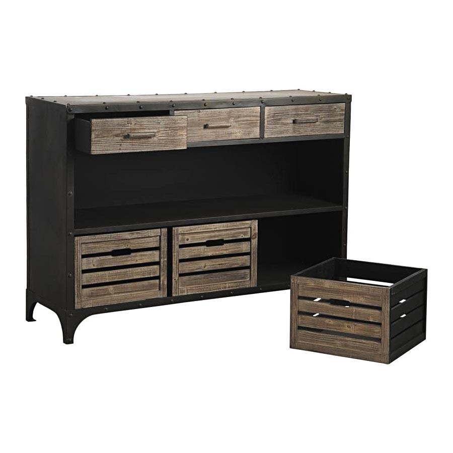console m tal bois 6509. Black Bedroom Furniture Sets. Home Design Ideas