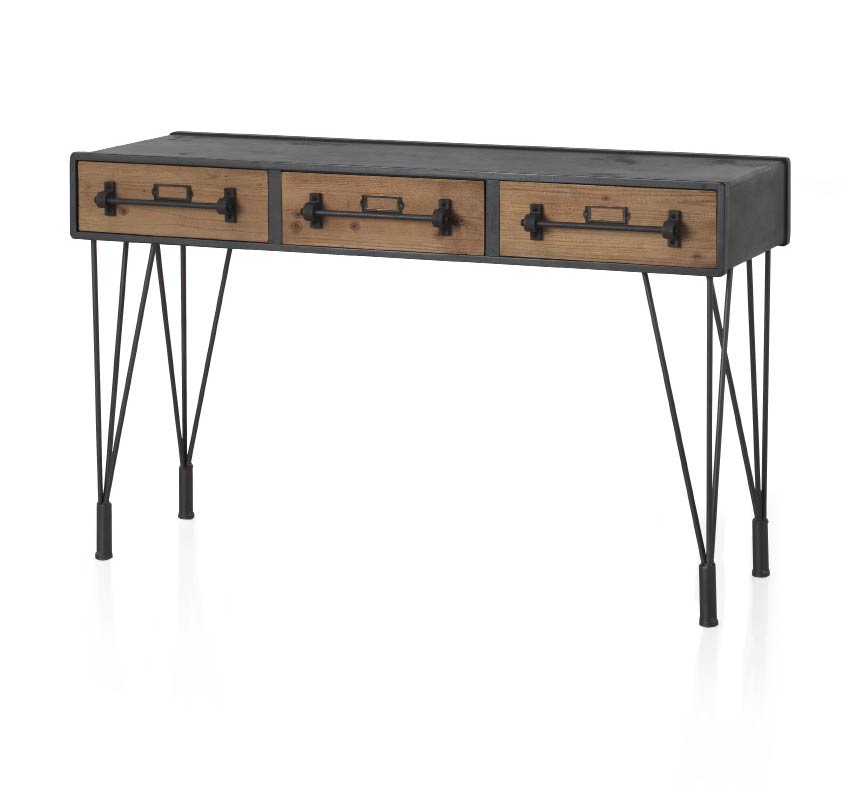 console bureau 3 tiroirs style industriel 6359. Black Bedroom Furniture Sets. Home Design Ideas