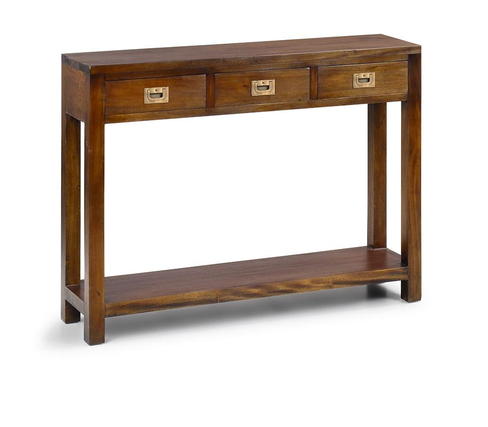 console d 39 entr e en bois d 39 acajou 3 tiroirs veland. Black Bedroom Furniture Sets. Home Design Ideas