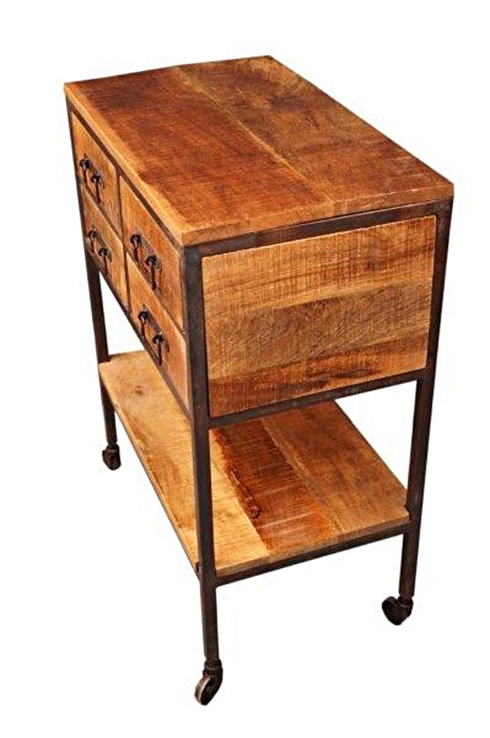 desserte manguier et m tal sur roulettes. Black Bedroom Furniture Sets. Home Design Ideas