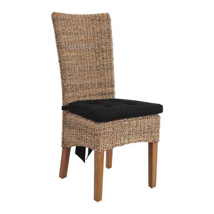 Coussin d 39 assise noir avec lani res d 39 attaches - Coussins de chaises dehoussables ...
