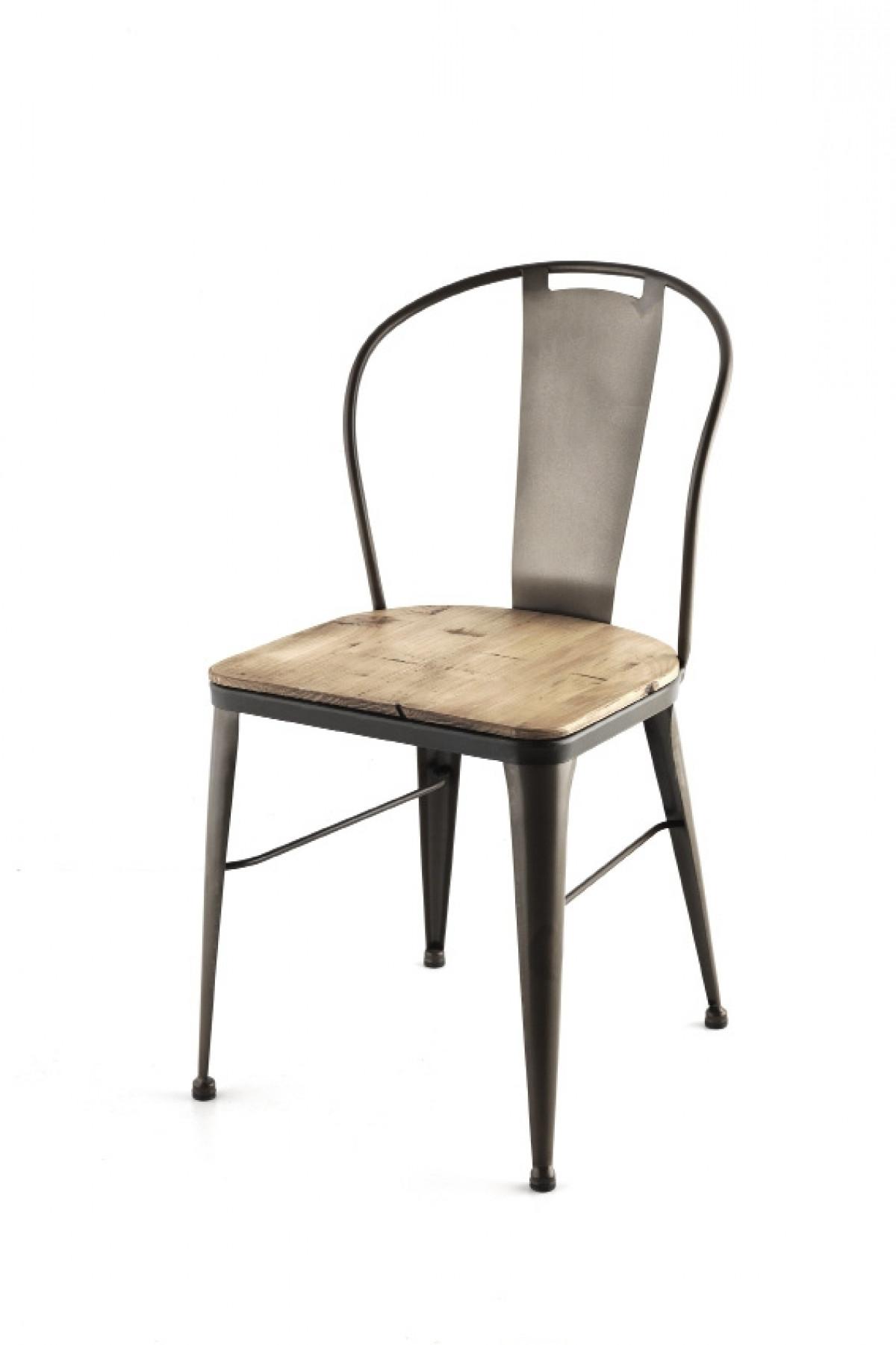 Chaise Bois Et Metal Industriel chaise métal d'inspiration tolix