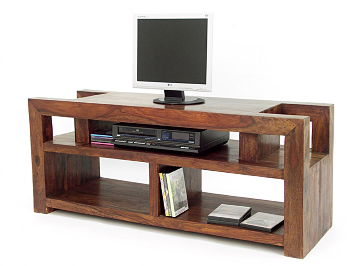 Sauvage, meuble tv vidéo palissandre, rangement destructuré
