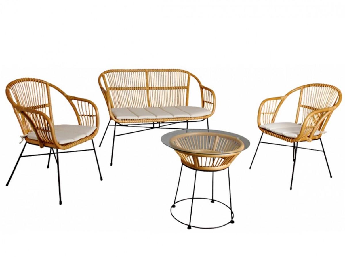 Salon Rotin Jardin Et Interieur 4 Pieces