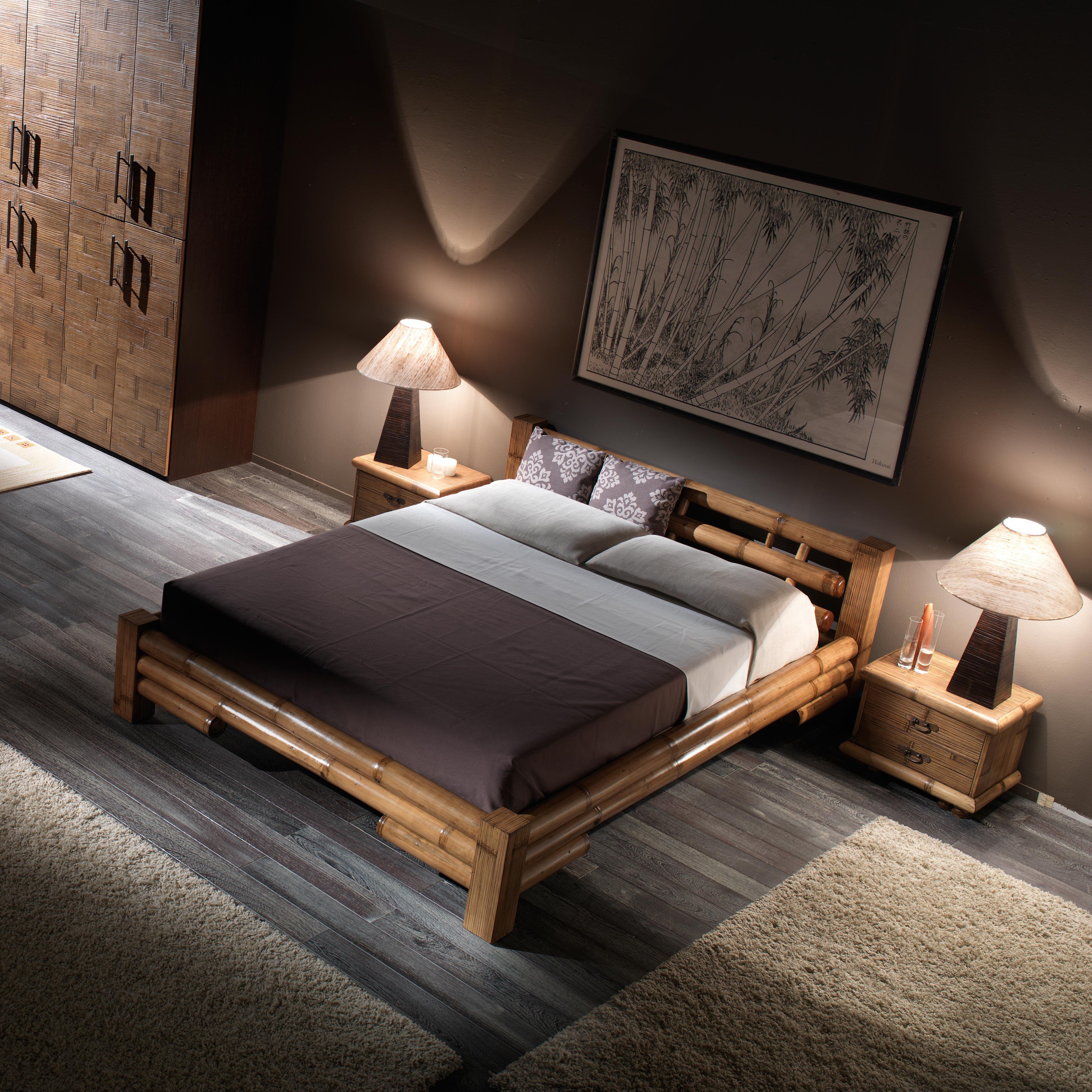 Deco Chambre Style Exotique noka, lit 2 personnes style exotique, bambou