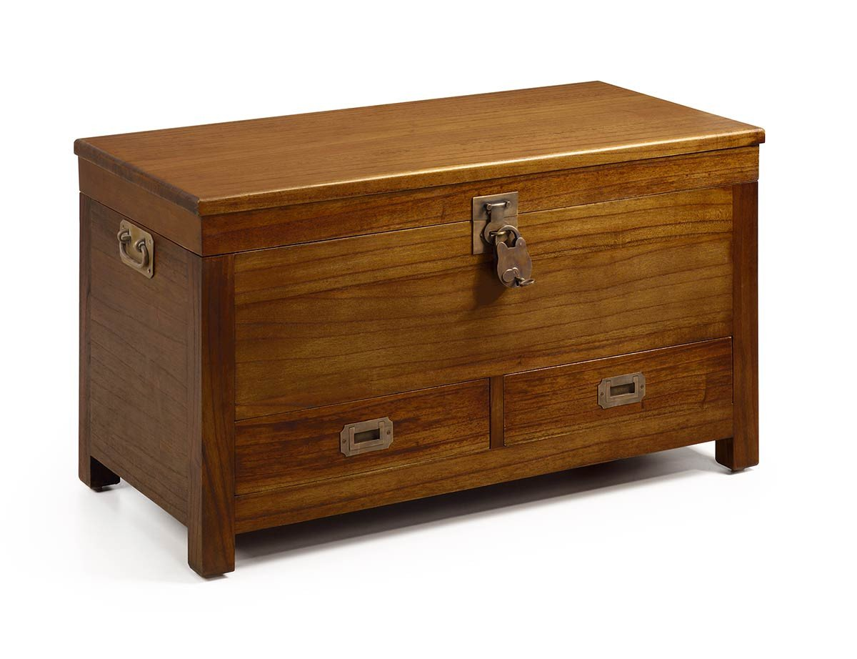 Malle Comme Table Basse mawan, malle en bois, 2 tiroirs