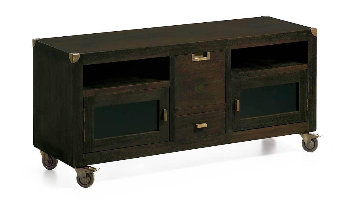 meuble television sur roulettes en bois et metal 2 tiroirs 2 portes collection jader