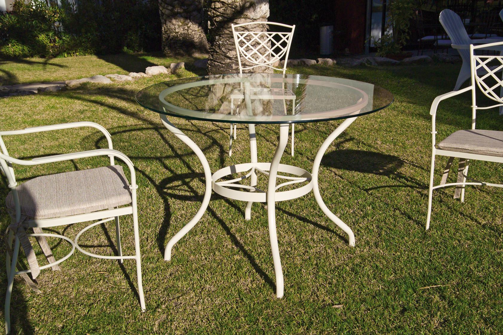 Table repas de jardin en métal fer forgé et plateau en verre