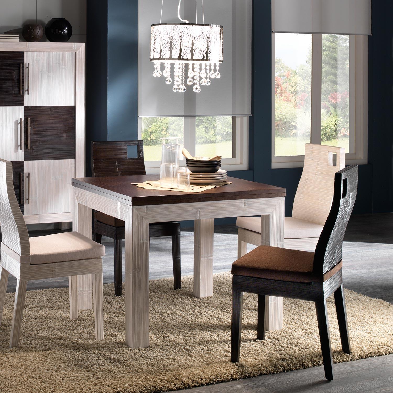Table Salle A Manger Avec Rallonge Depliante En Bambou Et Bois Exotique Blanc Ceruse Et Wenge Collection Indah