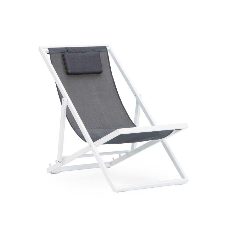 Chaise Longue Pliante Jardin Aluminium Blanc Et Textilene Gris 4658