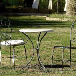 Table repas de jardin en métal fer forgé et imitation bois Werzalit® 120x75