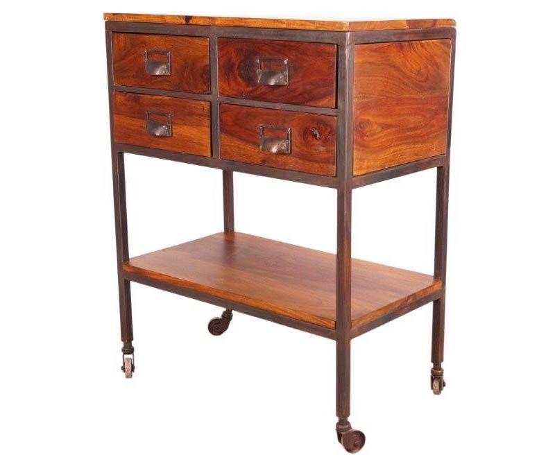 desserte de cuisine sur roulettes 4 tiroirs en bois de. Black Bedroom Furniture Sets. Home Design Ideas