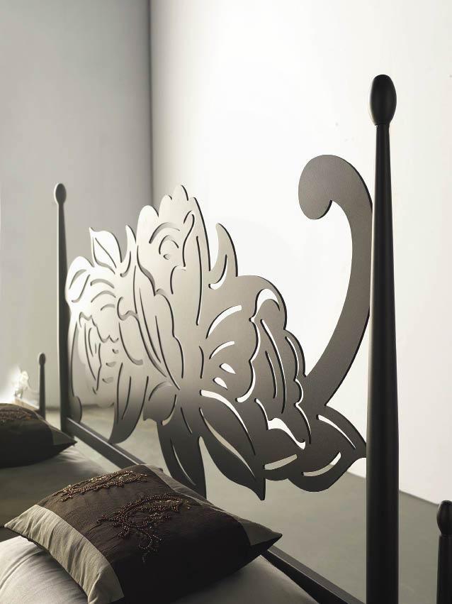 T te de lit dessin floral m tal et fer forg rosacier 5851 - Tete de lit fer forge blanc ...