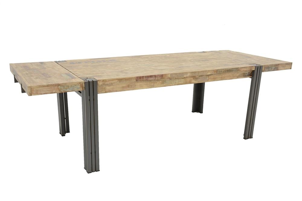 table repas style industriel avec rallonges extensible 260 100 76 cm indus. Black Bedroom Furniture Sets. Home Design Ideas